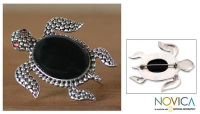 Onyx and garnet brooch pin, 'Black Sea Turtle' - Onyx Sterling Silver Sea Leaf  Brooch Pin