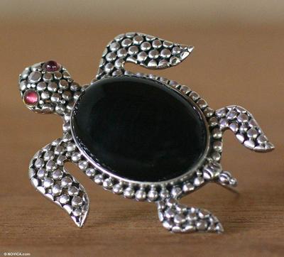 Onyx Sterling Silver Sea Leaf Brooch Pin