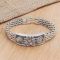 Sterling silver braid bracelet, 'Lotus' - Sterling silver braid bracelet
