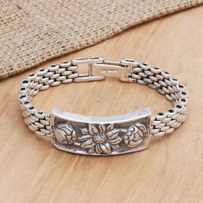 Sterling silver braid bracelet, 'Lotus' - Sterling silver braid bracelet