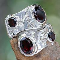 Garnet sterling silver wrap ring, 'Comet' - Indonesian Sterling Silver and Garnet Wrap Ring