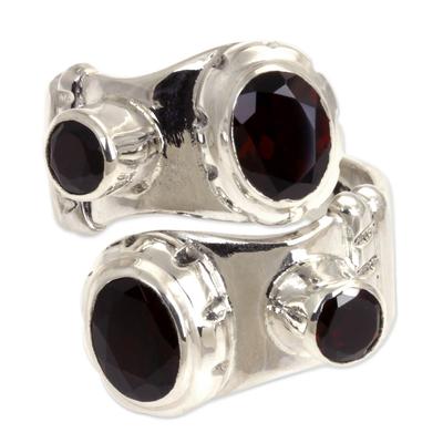 Garnet sterling silver wrap ring, 'Comet' - Indonesian Sterling Silver and Garnet Wrap Ring