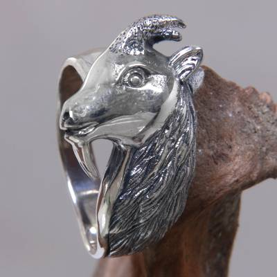 Men's sterling silver ring, 'Capricorn' - Men's Unique Sterling Silver Ring