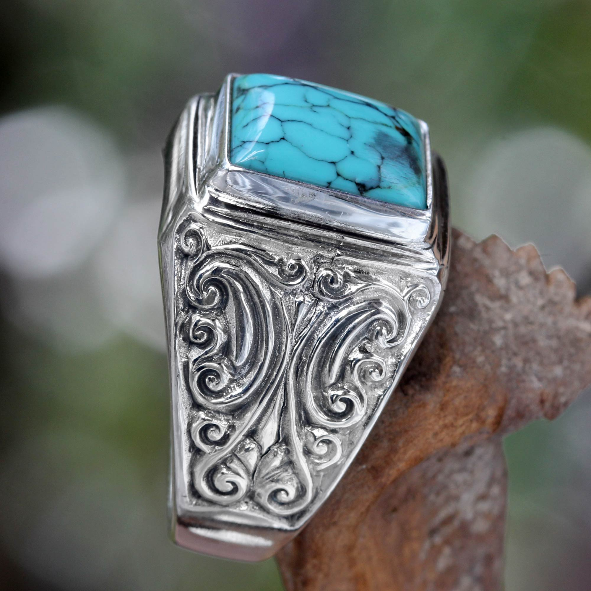 Unisex Sterling Silver and Reconstituted Turquoise Ring - Sky Crown ...