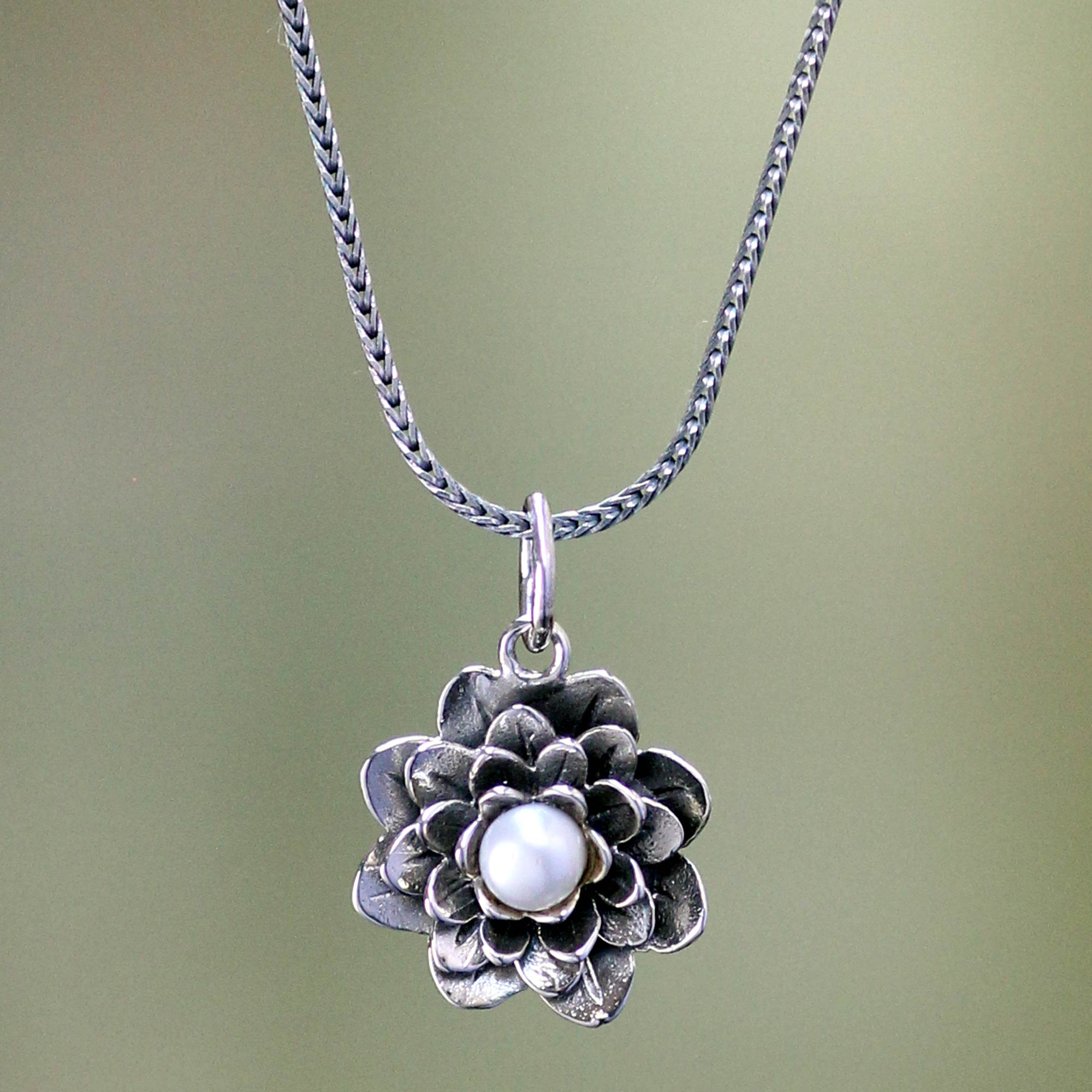 Sterling silver and pearl pendant necklace sacred white lotus sterling silver and pearl pendant necklace sacred white lotus novica mozeypictures Images