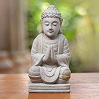 Sandstone sculpture, 'Meditating Buddha' - Hand Crafted Buddhism Stone Sculpture from Indonesia