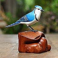 Wood statuette, 'Curious Blue Jay' - Wood statuette