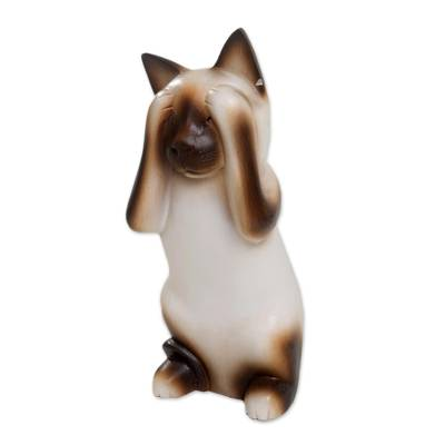 Wood sculpture, 'See No Evil Siamese Cat' - Handcrafted Albesia Wood Sculpture