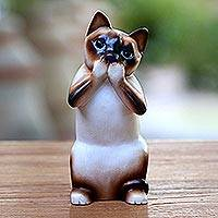 Wood statuette, 'Speak No Evil Siamese Cat' - Original Hand Carved Wood Sculpture
