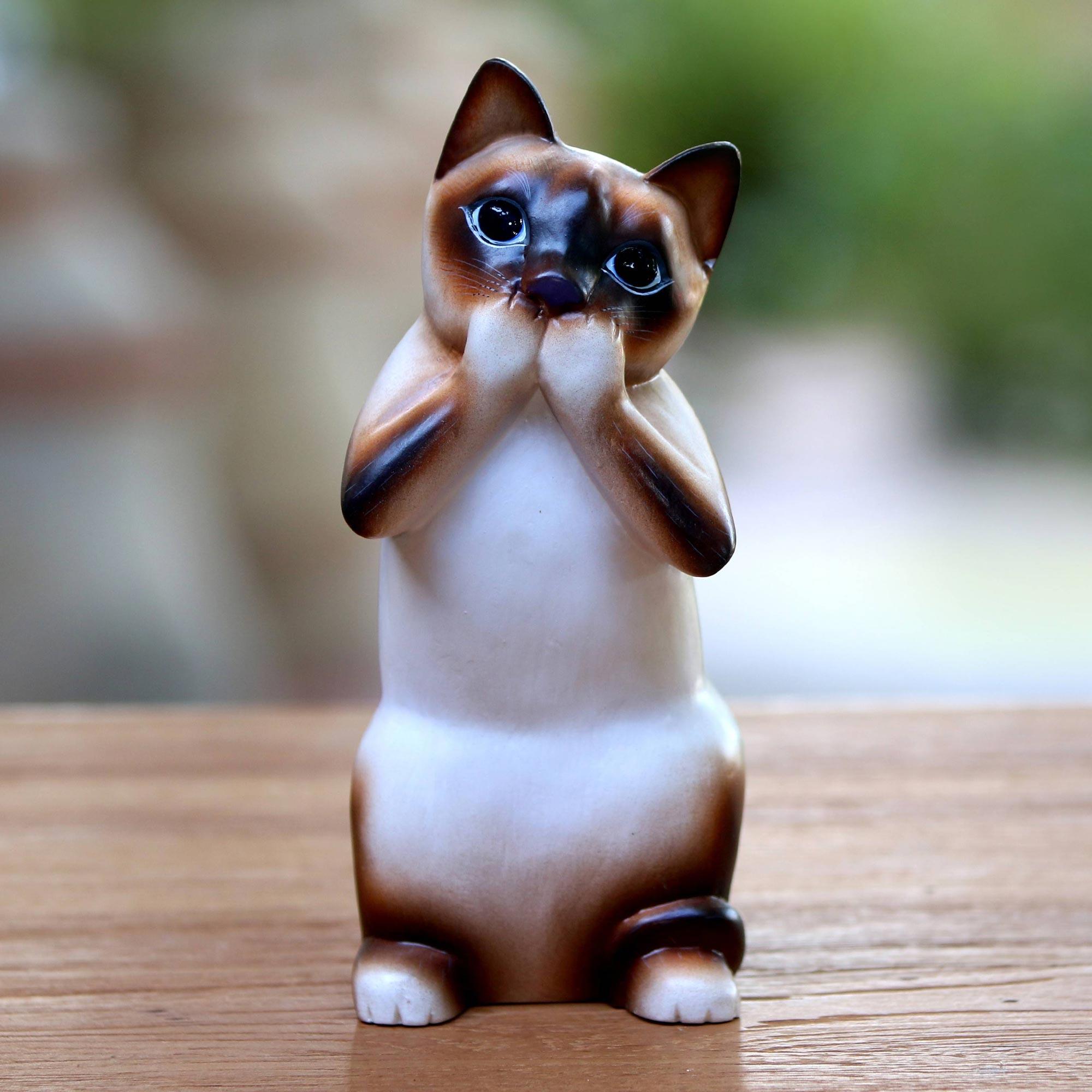 Original Wood Sculpture Statuette Hand Carved /'Cat Gives Thanks/' NOVICA Bali