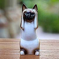 Wood sculpture, 'Hear No Evil Siamese Cat' - Artisan Crafted Wood Sculpture