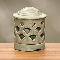 Ceramic tealight candleholder, 'Cupola Light' - Fair Trade Ceramic Tealight Candleholder with Chimney