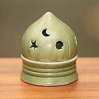 Ceramic tealight candleholder, 'Dome of Light' - Green Sky Theme Ceramic Candleholder for a Tealight Candle