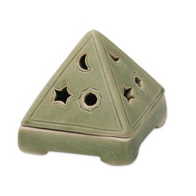 Ceramic tealight candleholder, 'Pyramid of Light' - Ceramic Pyramid Candleholder Handcrafted in Bali