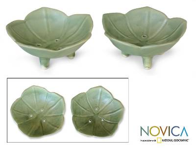Ceramic soap dishes, 'Lotus Pond' (pair) - Handmade Ceramic Floral Soap Dishes (Pair)