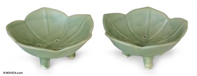 Handmade Ceramic Floral Soap Dishes (Pair)