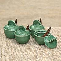 Ceramic condiment set, 'Dance Fans' (set of 4)