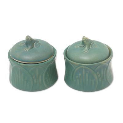 Ceramic condiment jars, 'Leaping Frogs' (pair) - Fair Trade Ceramic Condiment Jars (Set of 2)