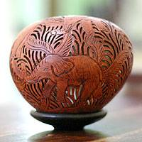 Coconut shell sculpture, 'Elephant Wilderness' - Handcrafted Coconut Shell Sculpture