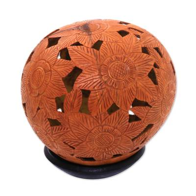 Floral Coconut Shell Sculpture with Stand