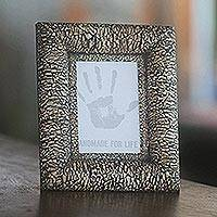 Wood and eggshell photo frame, 'Nature's Charm in Black' (4x6) - Wood and eggshell photo frame (4x6)