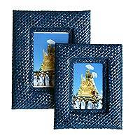 Pandanus photo frames, 'Natural in Blue' (pair) - Pandanus photo frames (Pair)