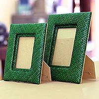 Pandanus photo frames, 'Natural in Green' (pair) - Pandanus photo frames (Pair)