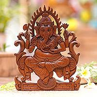 Wood wall panel, 'Serene Ganesha' - Hinduism Wood Relief Panel