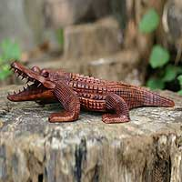 Wood sculpture, 'Indonesian Crocodile' - Suar Wood Statuette