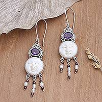 Amethyst and pearl dangle earrings, 'Moon Prince'