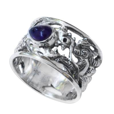 Amethyst band ring, 'Dragon Guardian' - Sterling Silver and Amethyst Band Ring