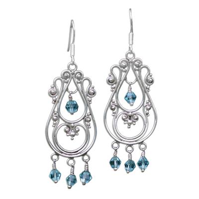 Sterling silver chandelier earrings, 'Memories' - Sterling Silver Chandelier Earrings