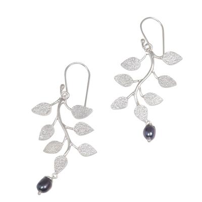 Pearl dangle earrings, 'Black Forest' - Pearl Sterling Silver Dangle Earrings