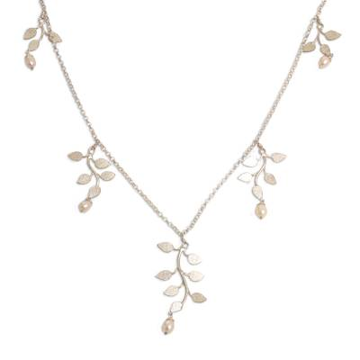 Pearl pendant necklace, 'Cloud Forest' - Sterling Silver and Pearl Necklace