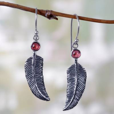 Garnet dangle earrings, 'Light as a Feather' - Animal Themed Garnet Sterling Silver Earrings