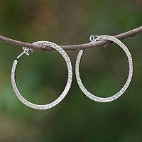 Sterling silver hoop earrings, 'Moon Walk' - Women's Sterling Silver Half Hoop Earrings