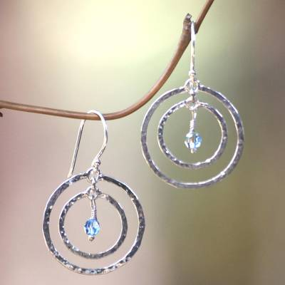 Earrings, 'Blue Halo' - Sterling Silver Dangle Earrings