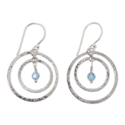 Earrings, 'Blue Halo' - Sterling Silver Dangle Earrings