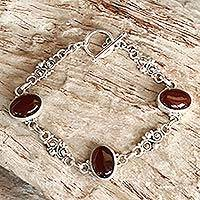 Carnelian link bracelet, 'Sunset in Bali'
