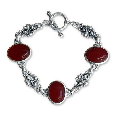 Carnelian link bracelet, 'Sunset in Bali' - Sterling Silver Carnelian Link Bracelet