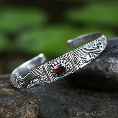 Garnet bracelet, 'Paradise' - Gold Accent Sterling Silver Garnet Cuff