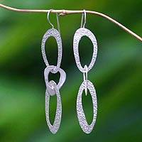 Sterling silver dangle earrings, 'Futuristic' - Silver Hanging Circular Earrings