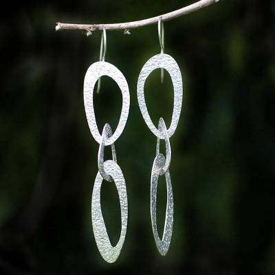 Sterling silver dangle earrings, 'Futuristic' - Modern Sterling Silver Dangle Earrings from Indonesia