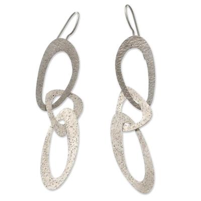Sterling silver dangle earrings, 'Futuristic' - Modern Sterling Silver Dangle Earrings from Indonesia