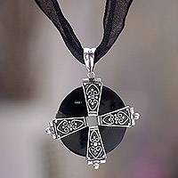 Bull horn necklace, 'Silver Cross' - Bull horn necklace