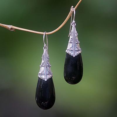Bull horn dangle earrings, 'Teardrop' - Bull horn dangle earrings