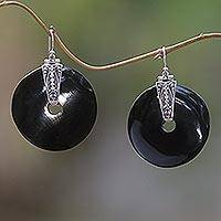 Bull horn dangle earrings, 'Endless Beauty' - Bull horn dangle earrings