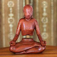 Wood statuette, 'Levitation' - Meditation Wood Sculpture