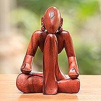 Wood sculpture, 'Meditation' - Artisan Crafted Wood Sculpture