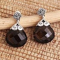 Smoky quartz dangle earrings, 'Smoky Briolette' - Heart Shaped Smoky Quartz Sterling Silver Earrings